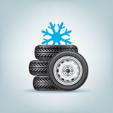 Set of winter wheels Stock Image