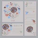 Set wiosna sztandary z ręka rysującymi elementami Obraz Royalty Free