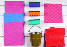 A set of wipes, sponges, buckets for cleaning. Royalty Free Stock Photography