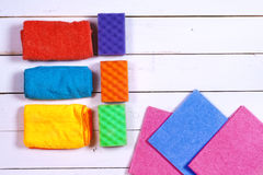 A set of wipes, sponges, buckets for cleaning. Royalty Free Stock Images