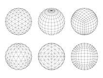 Set of Wireframe mesh spheres stock illustration