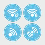 Set of wireless icon on polygon background. Abstract geometric background Stock Photo