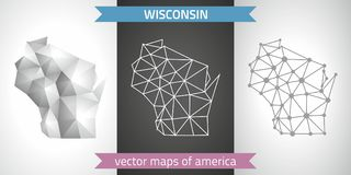 Wisconsin collection of vector design modern maps, gray and black and silver dot contour mosaic 3d map. Set of Wisconsin polygonal mosaic modern maps Stock Photography