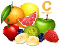 Set witaminy C owoc royalty ilustracja