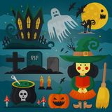 Set of witch, cat, zombie, pumpkin and other different spooky decorations and elements for Halloween. Vector horror card.  Royalty Free Stock Photo