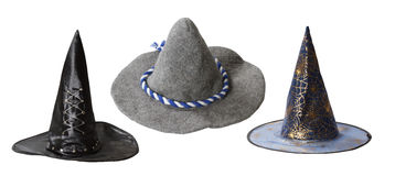 Set of witch hats Stock Photos