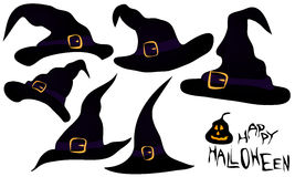 A set of witches hats. A set a few witches hats in black and purple color, with buckle and strap, for halloween vector illustration
