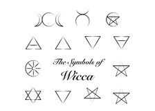 Set of Witches runes, wiccan divination symbols. Ancient occult symbols, isolated on white. Vector illustration. Royalty Free Stock Photography