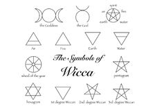 Set of Witches runes, wiccan divination symbols. Ancient occult symbols, isolated on white. Vector illustration. Set of Witches runes, wiccan divination symbols royalty free illustration