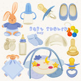 Set With Colorful Baby Items For Infant Boys Royalty Free Stock Photography