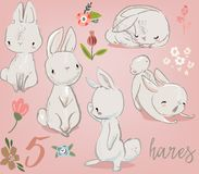 Free Set With Cute Hares Royalty Free Stock Photos - 109828538