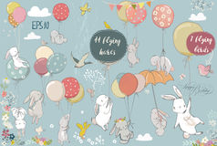 Free Set With Flying Hares Royalty Free Stock Images - 88808989
