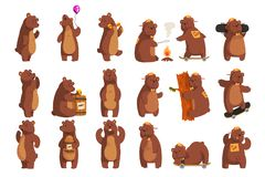Free Set With Funny Bear. Forest Animal Waving By Paw, Holding Balloon, Dancing, Howling, Calling Someone, Eating Honey From Stock Photos - 130949423