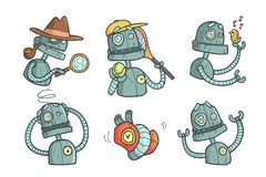 Set With Metal Robot With Different Emotions. Cartoon Mechanical Android In Outline Style With Colorful Fill. Vector For Stock Images