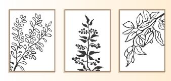 Free Set With Modern Poster With Illustration Of Plants Royalty Free Stock Image - 213998196
