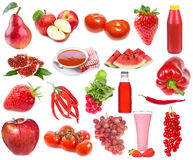 Set With Red Food And Drinks Royalty Free Stock Photo