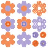Set With Scrapbook Flowers And Buttons Royalty Free Stock Photo