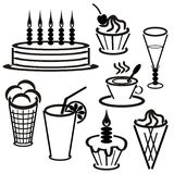 Set withdesserts and drinks Royalty Free Stock Photos
