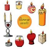 Set wizerunki romantyczne świeczki royalty ilustracja