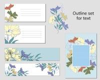 Set wizytówka szablony i tekst ramy z kwiecistym wzorem Naturalny ornament malujący kwiaty w retro stylu dla ilustracji