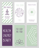 Set wizytówki dla joga studia, sklep, zdroju centrum Obraz Stock