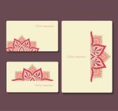 Set wizytówki i broszurki z round ornamentem Fotografia Royalty Free