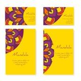 Set wizytówki i broszurki z round ornamentem Fotografia Stock