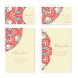 Set wizytówki i broszurki z round ornamentem Zdjęcia Royalty Free