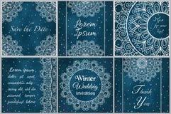 Set wizytówki i zaproszenia karciani szablony z koronkowym ornamentem Obraz Stock