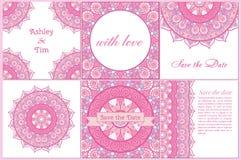Set wizytówki i zaproszenia karciani szablony z koronkowym ornamentem Fotografia Stock