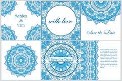 Set wizytówki i zaproszenia karciani szablony z koronkowym ornamentem Joga centrum Indianin, islam, język arabski, ottoman motywy Obrazy Stock