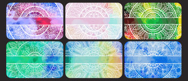 Set wizytówki z ręka rysującym plemiennym ornamentem Zdjęcie Stock