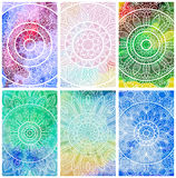Set wizytówki z ręka rysującym plemiennym ornamentem nad akwareli tłem Mandala projekt dla powitania, zaproszenie karta, lub Obraz Royalty Free