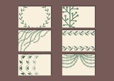 Set wizyt karty z prostym kwiecistym projektem Kwieciści szablony z ślicznymi gałąź liście Zdjęcie Royalty Free