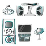 Set wnętrze i sprzęt elektroniczny w zaawansowany technicznie stylu odizolowywającym na białym tle Wewnętrzny projekt wewnątrz ilustracja wektor
