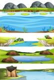 Set woda krajobraz ilustracji
