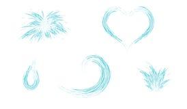 Set wodna pluśnięcia serca fala i kropla Zdjęcia Royalty Free