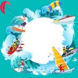 Set wodny ekstremum bawi się tła, odizolowywający projektów elementy dla wakacje aktywności zabawy pojęcia, kreskówki fala Obrazy Royalty Free
