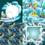 Set wodny ekstremum bawi się tła, projektów elementy dla wakacje aktywności zabawy pojęcia, kreskówki fala Obrazy Stock