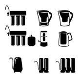 Set wodny filtr w czarnej sylwetki ikonie ilustracji