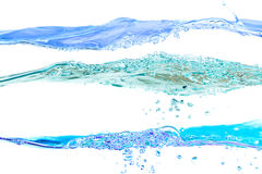 Set wodnych fala błękit barwi na białym tle Zdjęcia Royalty Free