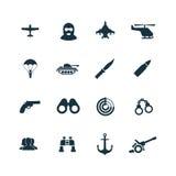 Set wojsko ikony Obrazy Royalty Free