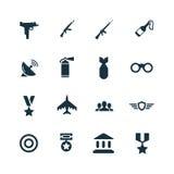 Set wojsko ikony Obrazy Stock