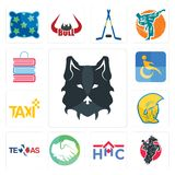 Set of wolf face, equestrian, home health care, hands shaking, texas, warrior head, taxi, disability, book shop icons. Set Of 13 simple editable icons such as Stock Photography