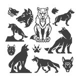 Set Wolfs vector illustrations Stock Photos