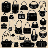 Set of woman bags and handbags. Royalty Free Stock Images