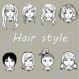 Set woman with beautiful hair style, vector. Stock Images
