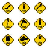 Set of woman car driver stickers. Female in automobile warning sign. Different woman symbols in yellow rhombus to a vehicle glass. Vector illustration Royalty Free Stock Photo