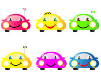 Set of woman cars. Colorful set of cute emotional woman cars Royalty Free Stock Images
