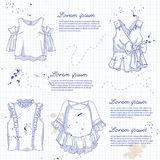 Set of woman casual clothes. Blouses with frills. Simple flat vector illustration on a notebook page stock illustration